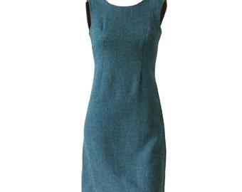Awesome Vintage 60s Teal Blue Wool Mod Mini Dress