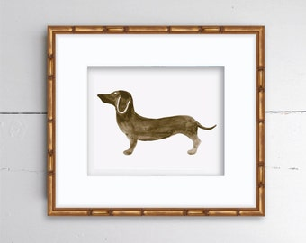 Dachshund Watercolor Print - SMc. Originals, watercolor painting, rustic, modern, original artwork, nursery decor, nursery art, dog print