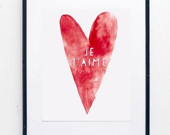 Je T'aime Watercolor Print -  SMc. Originals, watercolor painting, rustic, modern, heart artwork, nursery decor, nursery art, french print
