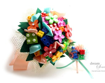 Creative Lego Bouquet with Groom's Boutonniere