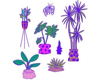 Neon Plant Print
