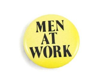 """1983 Men at Work 1.25"""" Pinback Button Vintage"""