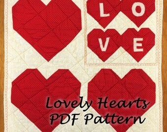 PDF Quilt Pattern, Quilt Pattern, Wall Hanging Pattern PDF, Heart Quilt Pattern PDF, Valentines Quilt Pattern, Valentines Day Quilt Pattern