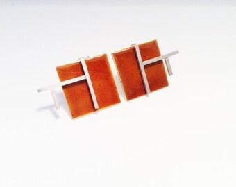 Square enamel earrings - Orange