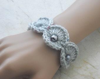 Crochet bracelet - bracelet - bracelet - crocheted bracelet with beads - fashion jewellery - jewellery - handmade Cuff Bracelet