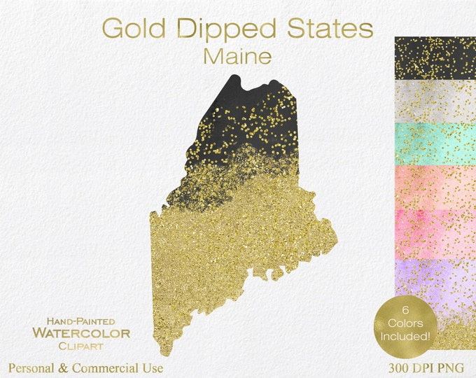 WATERCOLOR & GOLD MAINE Clipart Commercial Use Clipart United States Shape Wedding Clipart Gold Confetti Dust Maine State Clip Art Graphic