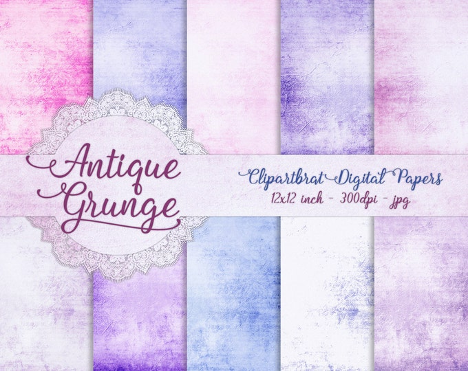 PINK & BLUE GRUNGE Digital Paper Pack Commercial Use Digital Backgrounds Romantic Aged Antique Distressed Digital Background Textured Papers