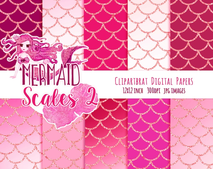 MERMAID DIGITAL PAPER Commercial Use Digital Backgrounds Rose Blush Pink & Pink Glitter Girly Fish Scales Printable Digital Scrapbook Paper