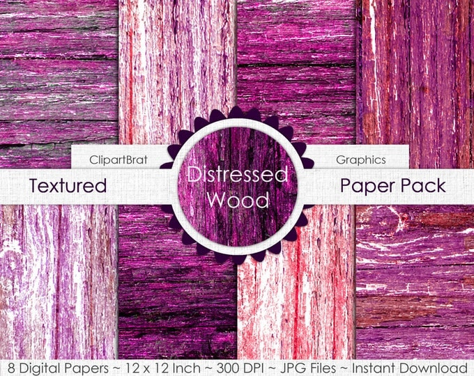 OLD BARN WOOD Digital Paper Pack Commercial Use Digital Background Gray & Pink Wood Grain Digital Paper Painted Distressed Wood Papers