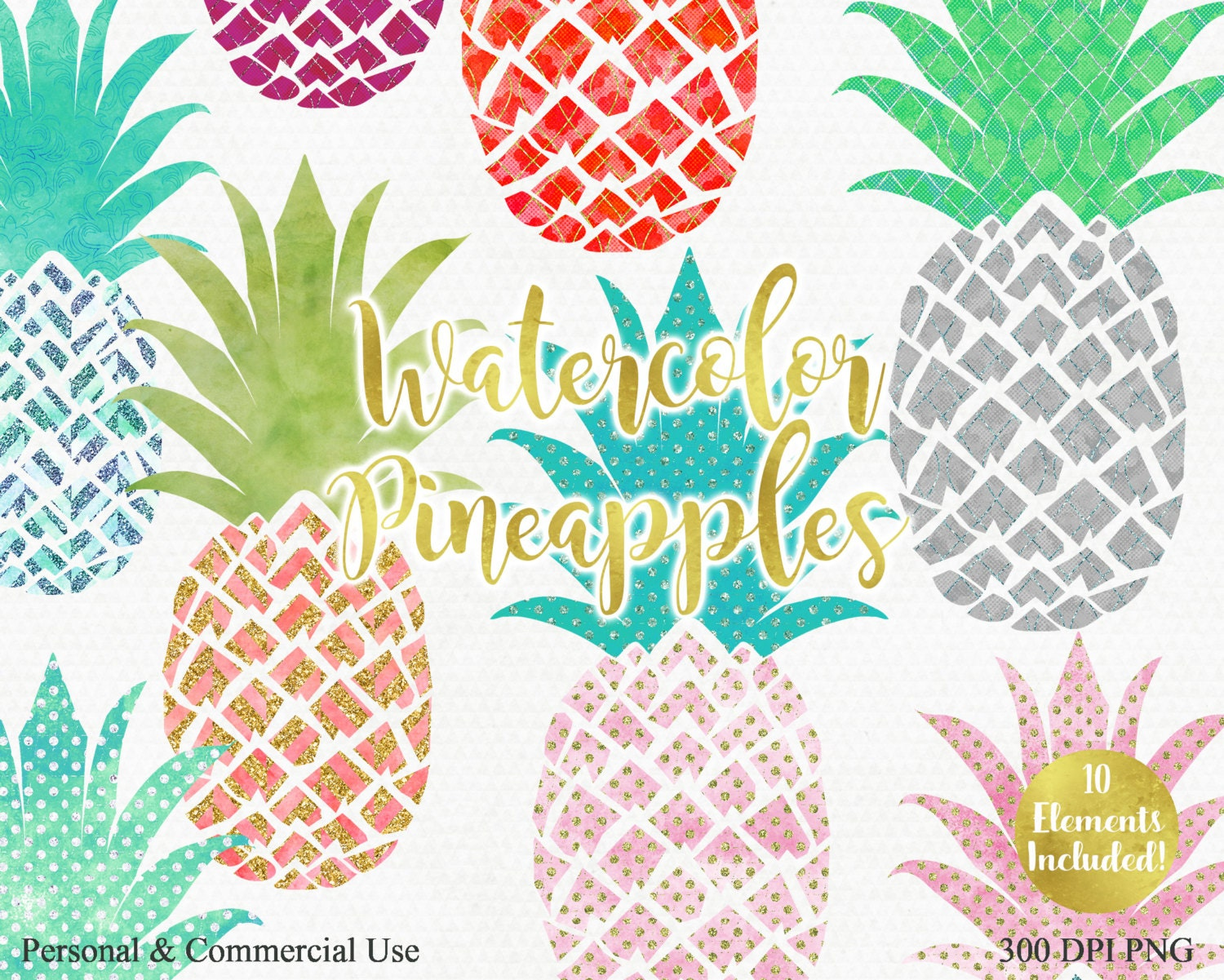 WATERCOLOR PINEAPPLE Clipart Commercial Use Clip art Fun