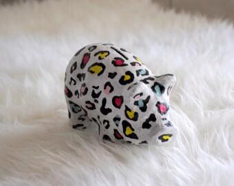 Leopard bank piggy shape / Paper mache / House miniature / Decoupage paper mache