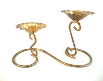 Brass Double Candlestick Candleholder Brass Floral Candleholder Brass Two Tiered Candleholder Brass Swirl Candleholder