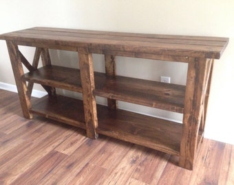 Rustic Wooden Console Table, X-Console Table, Rustic X Console Table