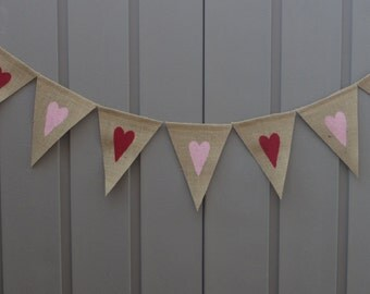 Heart Banner, Valentines Day Decor, Valentines Burlap Banner, Heart Bunting, Heart Garland, Valentines Bunting, Rustic Valentine Garland