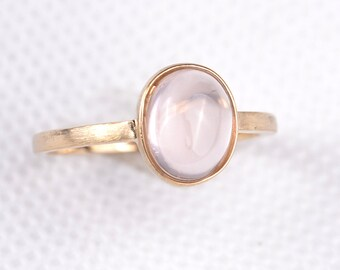 Rose Quartz Ring, 14K Solid Gold Ring, Gift for Her, Promise Ring, - AE0025-1