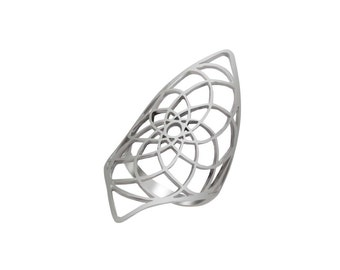 Mandala Silver Ring, Long Sterling Silver Flower of Life Ring, Geometric Flower of Life Boho Ring, Flower of Life Silver Ring, Silver Ring