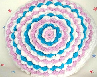 Flower Cushion, Blooming Throw, Pastel Cushion, Decorative Pillow, Gift for her, Gift for Nan, Birthday Gift, Circle Scatter