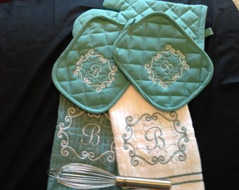 5 pc embroidered kitchen towel set