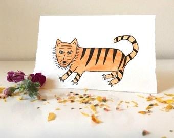 Hand Painted Tigress Card