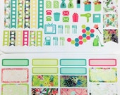 Tropics Weekly  Planner Stickers -Functional & Boxes - for Inkwell Press, Erin Condren and other horizontal and vertical planners