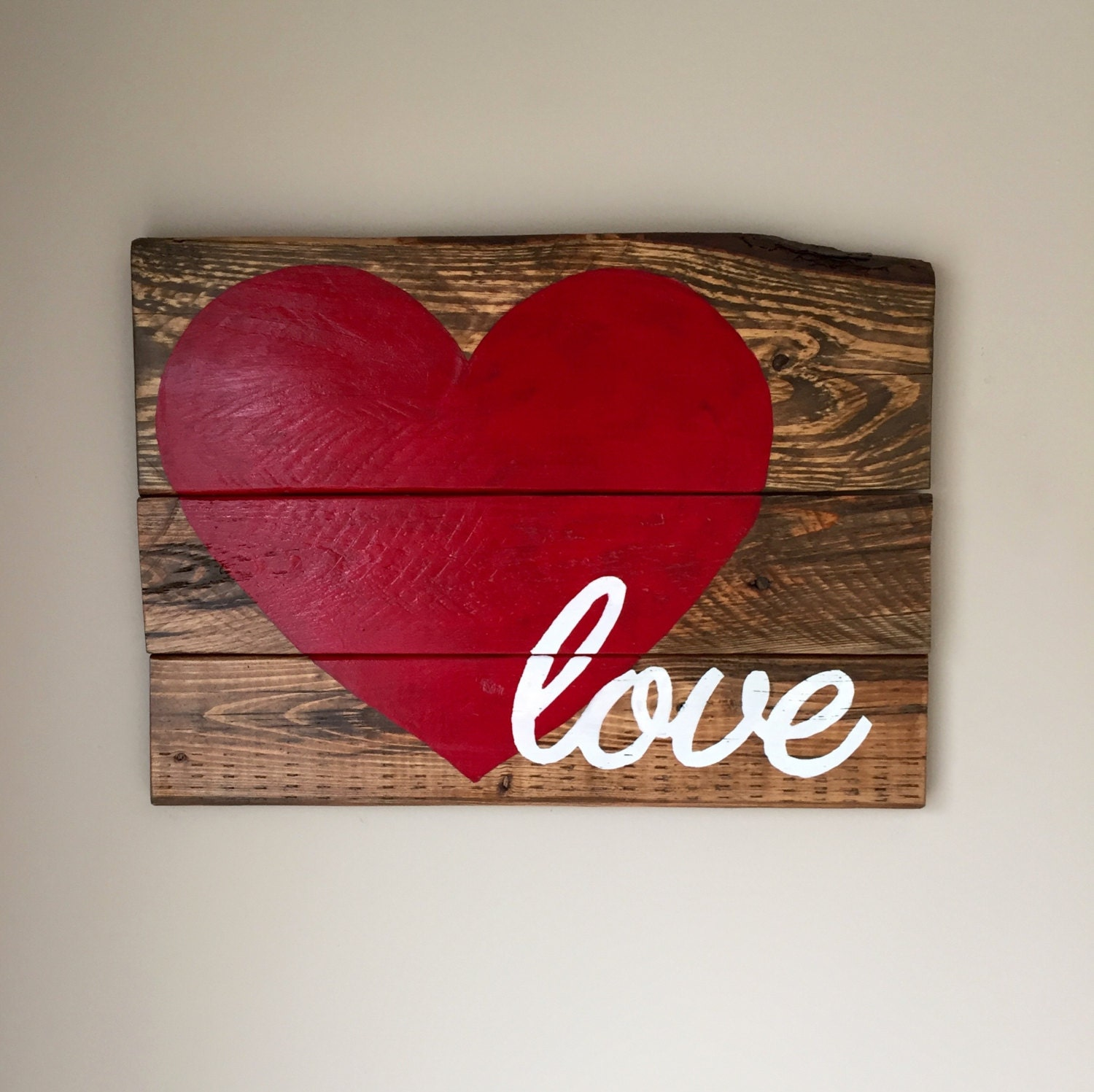 Reclaimed wood love sign handmade rustic by fallentimbercrafts for Love sign