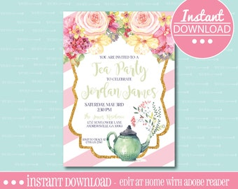 Tea Party Birthday Invitation - Pink - EDITABLE - INSTANT DOWNLOAD - Editable File - Customize - Edit Yourself with Adobe Reader-Printable
