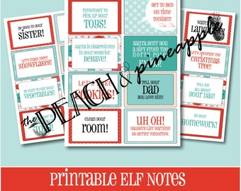 ELF NOTES - PRINTABLE, Elf Printables, Printable Notes, Printable Christmas Notes, Santa Notes, Santa's Elves, Elf, Instant Download