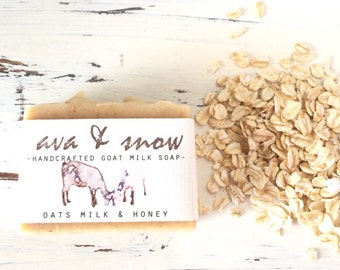 Milk and Honey Goat's Milk Soap, All Natural Soap, Handcrafted Goat's Milk Soap with Oatmeal, Goat's Milk Soap, Raw Honey Goat's Milk Soap
