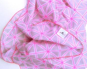 Baby Wrap/Swaddling Blanket Grey & Neon Pink Geo Print Muslin