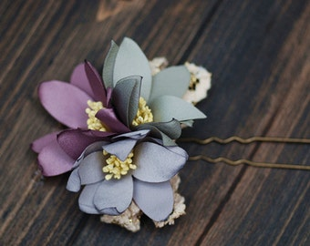 Bridal hair pin, flower hair pin, wedding flower, bridal hair flower, bridal hair clip, woodland wedding, flower headpiece