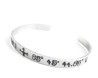 Custom Coordinates Aluminum Cuff | coordinate bracelet | handmade