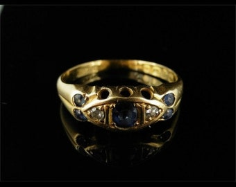 Edwardian Sapphire & Diamond Ring Dated Chester 1909