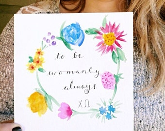 Chi Omega Flower Watercolor Print