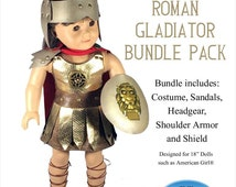 "Roman Gladiator Costume Bundle Pack Pattern Halloween American Girl Our Generation Journey Girls 18"" Dolls Pattern Appletotes & co."