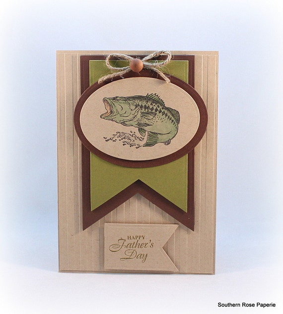 Fathers day card bass fish fishing theme father 39 s day for Father s day fishing card