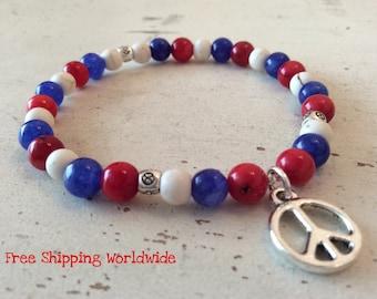 Forth of July Bracelet, American Flag Bracelet, 4th of July Jewelry, 4th July Bracelet, Red White and Blue Bracelet, Peace