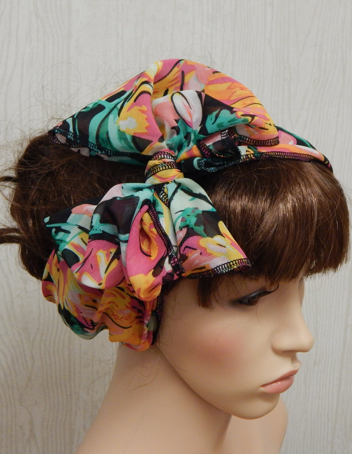 chiffon hair scarf retro bow scarf self tie hair band
