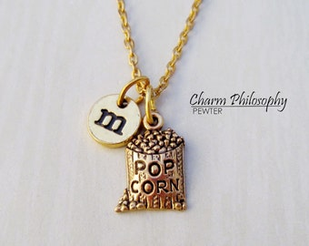 Gold Popcorn Necklace - Initial Necklace - Antique Gold Pewter Jewelry - Bag of Popcorn Charm
