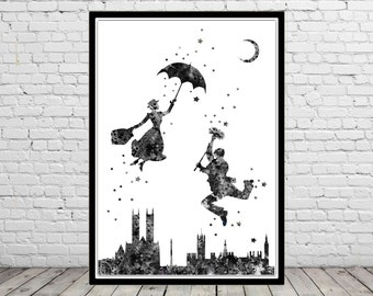 Mary Poppins inspired, Watercolor print, Kids Room Decor, Poster, print(1603b)