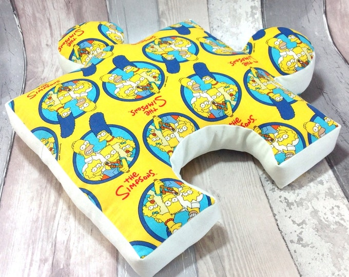 "Puzzle Pillow""The Simpson"", Nursery Cushion, Sewn toy,Playroom, Kids Cushion, Toys&Games, Unique Children Gift, Soft Puzzle, 11""x 11"""