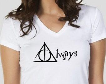 always shirt,harry potter shirt,harry potter tshirts,womens shirt,womens tee,womens tshirts,womens tee,women's tshirts,SiZE:S/M/L