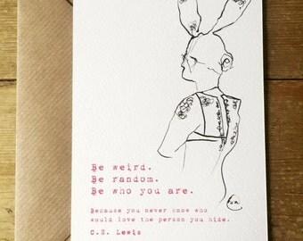 Be Weird, Be Random watercolour illustraion Postcard