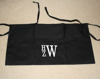 Monogrammed Black Waist Apron with Three Pockets, Personalized Embroidery