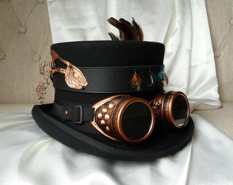 Steampunk Top Hat - The Angler - Gothic Topper with Goggles, Handmade, Vintage, Unique, Derby Day Hat, Mad Hatter Hat, Tea Party Hat.