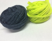 neon yellow blue 8-10meters T-shirt yarn gray stripes tshirt yarn cotton fabric yarn  zpagetti tricot yarn Necklaces Bracelets