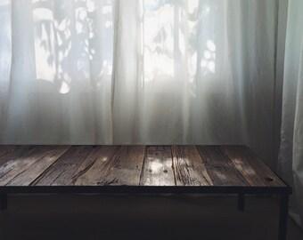 Grey-Wash Coffee Table with Metal Base