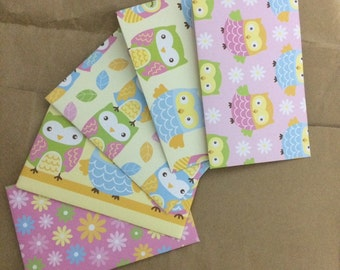 Owl Envelopes, handmade