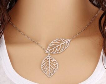 Vintage Leaf Necklace.
