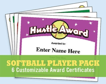 softball awards certificates  Softball certificate | Etsy