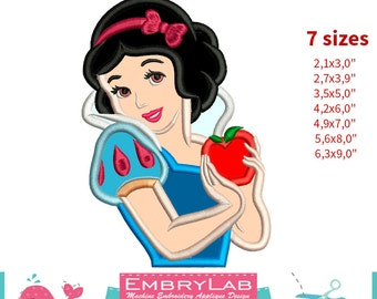 Applique Princess Snow White With Apple. Machine Embroidery Applique Design. Instant Digital Download (16232)